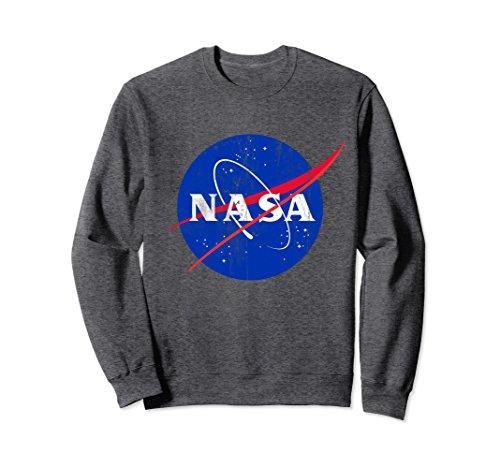 Unisex NASA Classic Blue Worm Logo Vintage Distressed Sweatshirt Small Dark Heather
