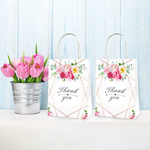 CC HOME Wedding Bridal Shower Decoration Supplies ,Floral Bridal Shower Party Favor Bags , Goody Party Favor Bags,Gift Bags,Fun Party Play Goodies,Paper Treat Bags for Wedding Favors,Bachelorette Party Gifts, Bride Tribe Accessories, Tropical Floral Wreath Design - Floral Gift Bags