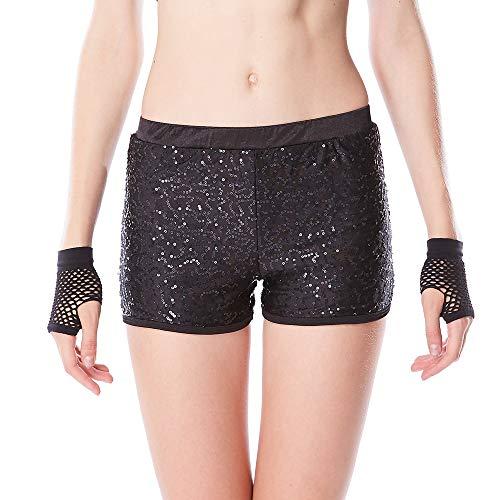 MiDee Full Sequins Pole Dance Shorts Costume Jazz Wear Hip Hop Biketard (XXSC, Black)