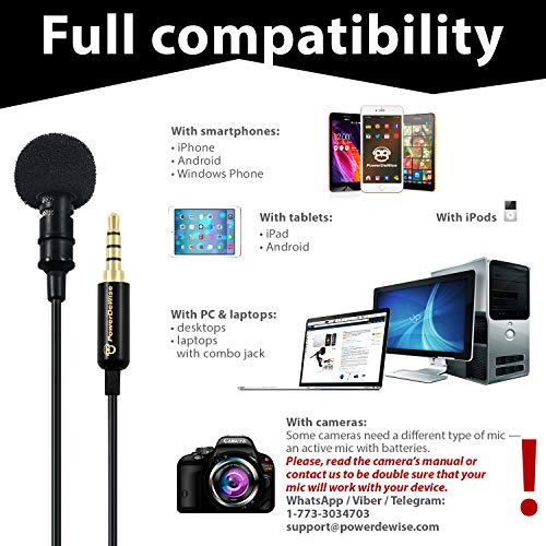 Large Product Image of Professional Grade Lavalier Lapel Microphone  Omnidirectional Mic with Easy Clip On System  Perfect for Recording Youtube / Interview / Video Conference / Podcast / Voice Dictation / iPhone/ASMR