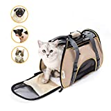 Soft Sided Pet Carrier Airline Travel Cat/Dog Small Animals Tote Bag(Apricot)