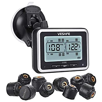 Image of Aftermarket Systems Vesafe TPMS, Wireless Tire Pressure Monitoring System for RV, Trailer, Coach, Motor Home, Fifth Wheel, with 10 Anti-Theft sensors, Include a Signal Booster