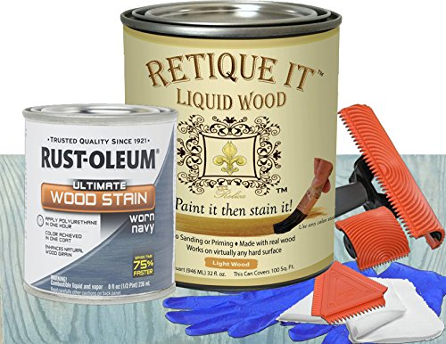 Retique It Liquid Wood - Quart Light Wood with Worn Navy Stain - Stainable Wood Fiber Paint - Put a fresh coat of wood on it (32oz LW, Worn Navy)