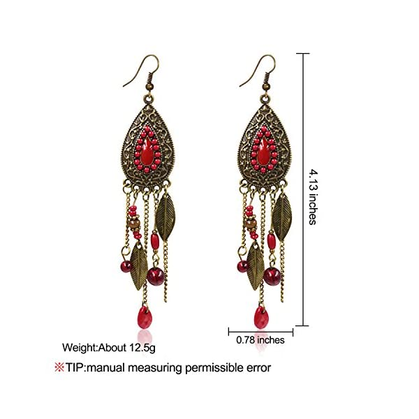 Eternity J. Women Vintage Retro Ethnic Drop Bohemian Dangle Earring Lolita Antique Bead Tassel Earrings 4