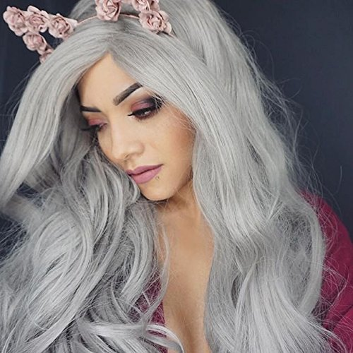Silver Screen Costume Ideas (Heahair Heat Resistant Long Silver Platinum Grey Cosplay Handmade Christmas Synthetic Lace Front Wig for Women (Silver ))
