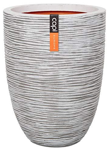 Modern Luxe Lightweight Indoor Outdoor Unbreakable Planter - Elegant Ivory Textured Rib Finish, 14.7