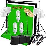 Hakutatz Photography Photo Studio Video Umbrella Lighting Kit 3pcs 45W Light Bulbs Lighting with 3 Backdrop(Green/White/Black) Backdrop Stand Set Kit for Video Studio Portrait Photography Kit