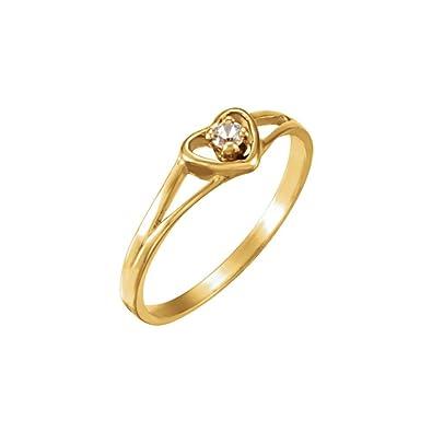 cbf6c10af1d8 JewelryWeb Anillo de Oro Amarillo de 14 Quilates con 3 Corazones de 2 mm