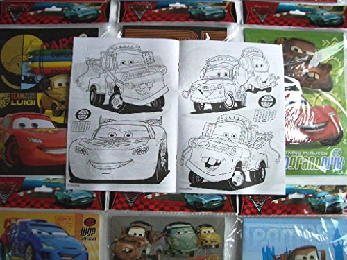 (12 Sets of Disney Pixar Cars Coloring Books and Crayon Set Children Party Favors Bag)