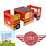 Fire Truck Childrens Table and 2 Chairs , Set of 4 Kids Indoor Outdoor Wooden Adjustable Red , Study Activity Drawing Board & eBook by EASY2FIND