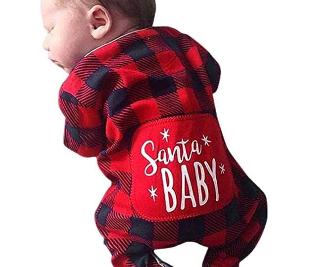 6f5e21d0baa Santa Baby One-Piece Rompers Christmas Xmas Plaid Onesie Romper Bodysuit  for Newborn Boys Girls