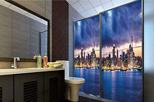 """Decorative Privacy Window Film, 35.43""""H x 23.62""""W for Home&OfficeCity,Auckland The Biggest City in New Zealand Waterfront Travel Destination,Navy Blue Pale Yellow,59.05""""H x 23.62""""W for Home&Of"""