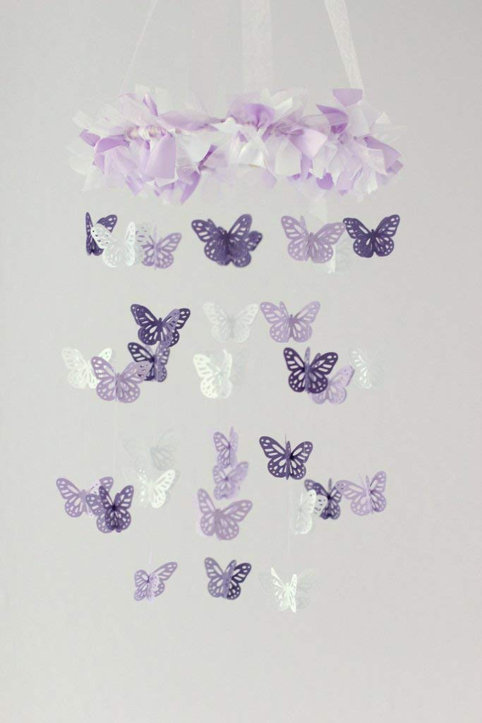 Butterfly Nursery Mobile in Lavender, Purple & White- SMALL SIZE