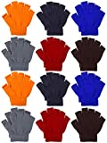 Coobey 12 Pairs Unisex Kids Half Finger Mittens Teen Winter Warm Fingerless Stretchy Knit Gloves (6-12 Years, Mixed 6 colors)