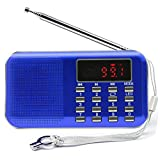 Mini Digital AM/FM Radio Speaker, Mifine Portable Stereo MP3 Music Player Speaker Support TF Card / USB Disk with LED Screen Display and Emergency Flashlight Function (C896-Blue)