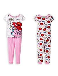 Sesame Street Elmo Stay Cool Girls 4-Piece Cotton Pajama Set