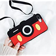Mickey Mouse Camera Case with Strap for iPhone 7+ 7Plus 8+ 8Plus Large Size Black Red Soft Silicone 3D Disney Cartoon Shockproof Protective High Cool Cute Fashion Hot Gift Girls Teens Kids Boys Women