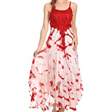 Sakkas Sami Long Sleeveless Spaghetti Strap Handkerchief Hem Dress With Corset Top