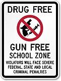 Drug Free, Gun Free School Zone (with symbol) Sign, 36'' x 24''