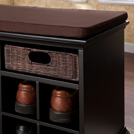 037732140131 - Southern Enterprises Chelmsford Entryway Shoe Storage Bench, Espresso Finish carousel main 1