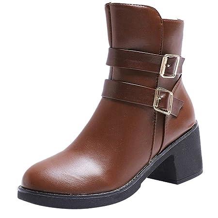 Logobeing Tacones Mujer Plataforma Zapatos Botines de Tacon Mujer Invierno Cómodo Moda 2018 Botas Altos Cuña Zapatos de Tacón Mujer-07024(35,Marrón): ...