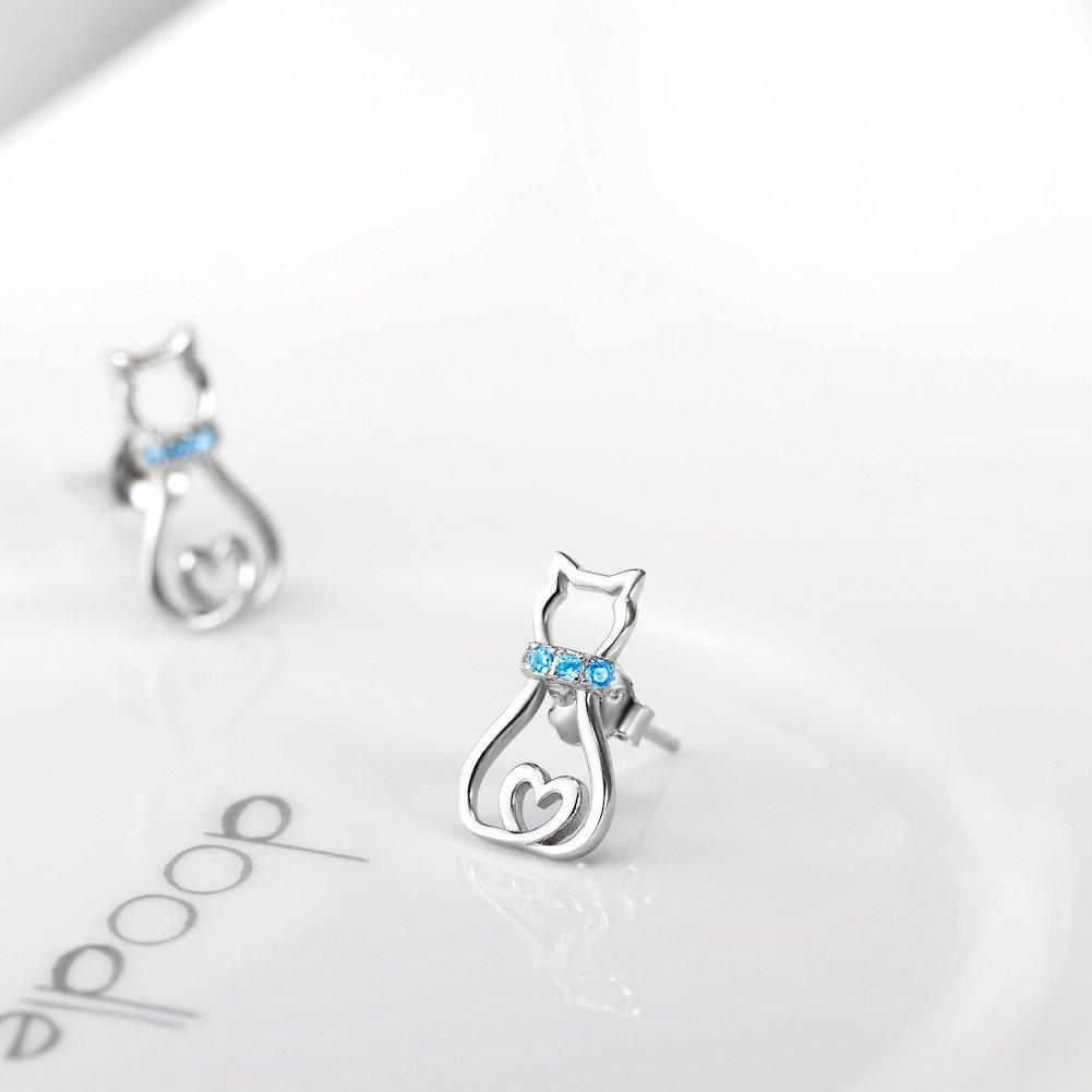 Boucles doreilles pour chat en argent sterling avec zircons cubiques roses Cadeaux pour les amoureux des chats Femmes Filles