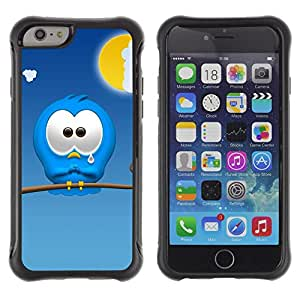 All-Round híbrido Heavy Duty de goma duro caso cubierta protectora Accesorio Generación-II BY RAYDREAMMM - Apple iPhone 6 PLUS 5.5 - Sad Cartoon Character Blue Monster Cute Art