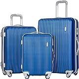 Merax 3 Piece Luggage Set Suitcase Spinner Hardshell Lightweight (Lake Blue.)