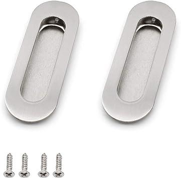 Dylan-EU - Tiradores empotrables ovalados para puerta corrediza con tornillos ocultos de acero inoxidable, tiradores de dedo para puerta armario o cajón, color plateado: Amazon.es: Bricolaje y herramientas