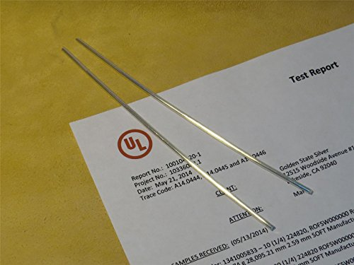 Golden State Silver 9999 Pure Silver 10 Gauge Wire - Set of (2) 6 inch Rods - UL Verified 99.99%