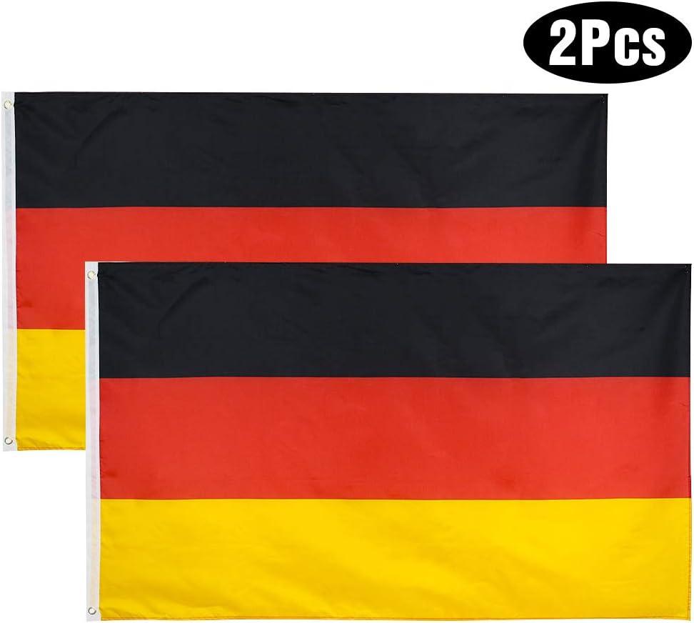YHmall 2pcs Bandera Alemana 150x90 cm/Bandera Francesa/Bandera Española/ Bandera Italiana, Bandera de Conferencia, Bandera de Jardín, Bandera de Desfile, Bandera de Fútbol: Amazon.es: Jardín
