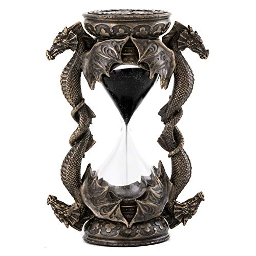 (Top Collection Decorative Black Dragon Hourglass - Mythical Sand Timer in Premium Cold Cast Bronze - 5.75-Inch Collectible Medieval Celtic Clock Sculpture)