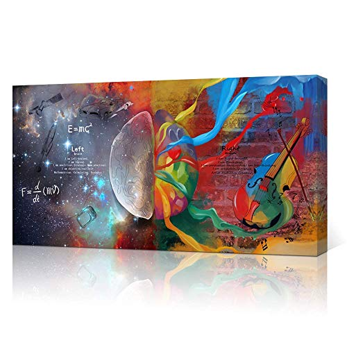 VVOVV Wall Decor Inspirational Wall Art Left and Right Brain Painting Galaxy Universe Pictures E=MC2 Abstract Colorful Science Poster Framed Canvas Print Artwork Office Study Room Decor 20x36inch