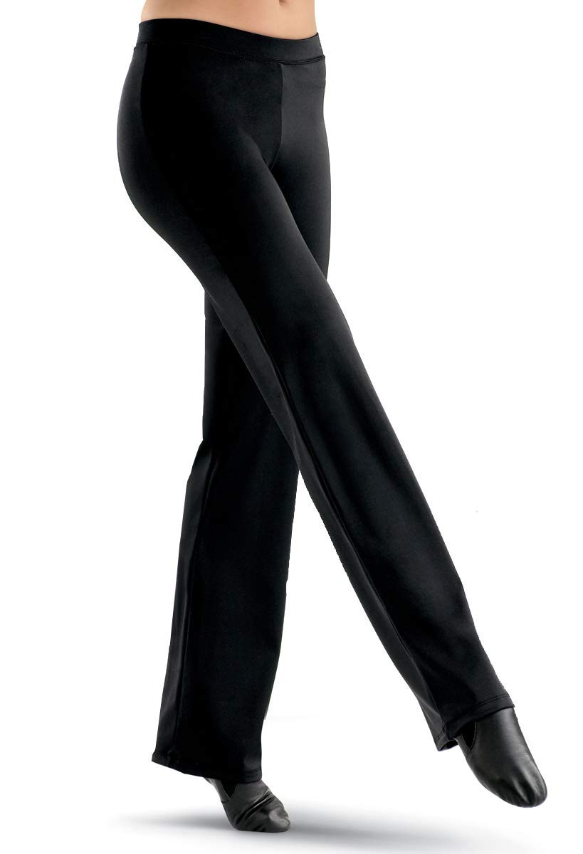 Balera Womens Bootcut Jazz Pants for Dance Girls Mid-Rise Waist Black by Balera