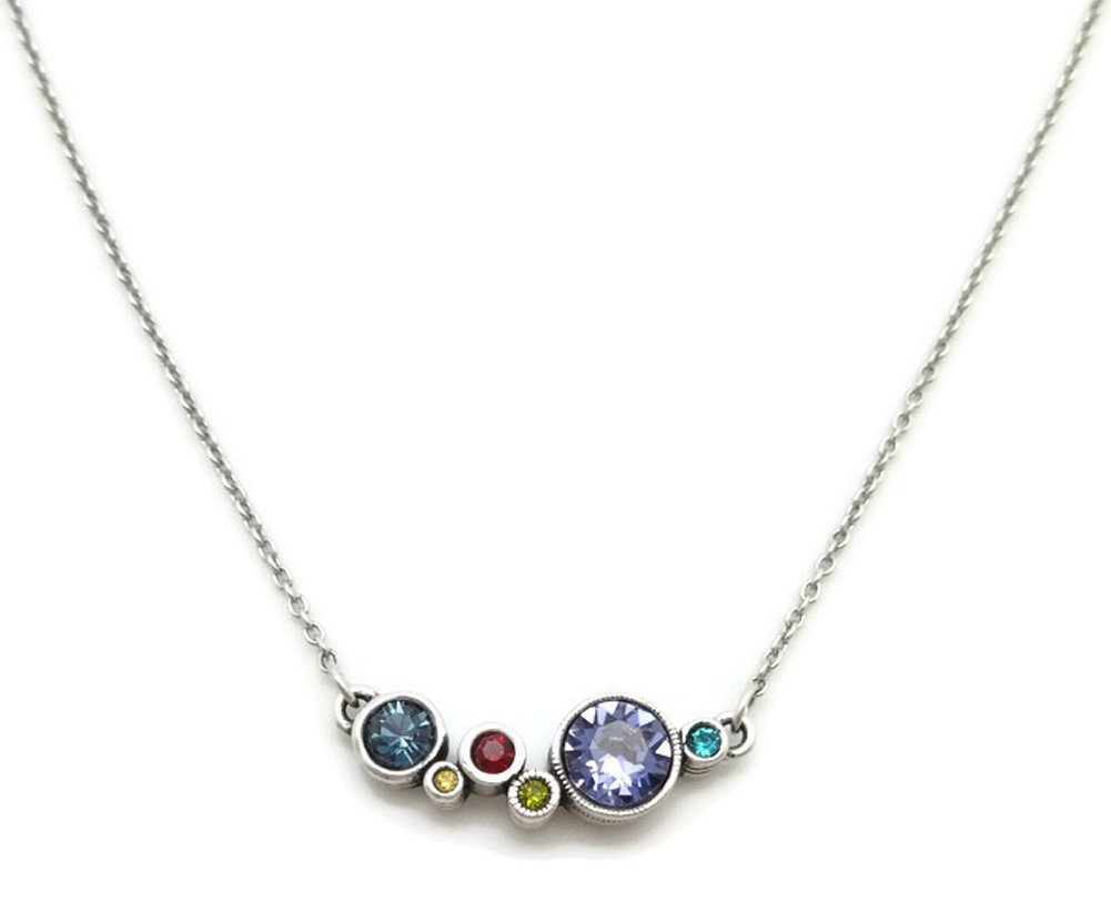 Patricia Locke Celebration Multi Color Curtain Call Swarovski Silver Plated Necklace