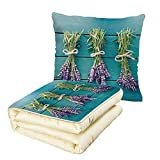 iPrint Quilt Dual-Use Pillow Lavender Fresh Lavender Bouquets on Blue Wooden Planks Rustic Relaxing Spa Decorative Multifunctional Air-Conditioning Quilt Sky Blue Lavender Green