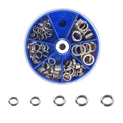 - Double Split Rings Heavy Duty Stainless Steel Fishing Split Ring kit Lure Connectors Fishing Tackle 100pcs