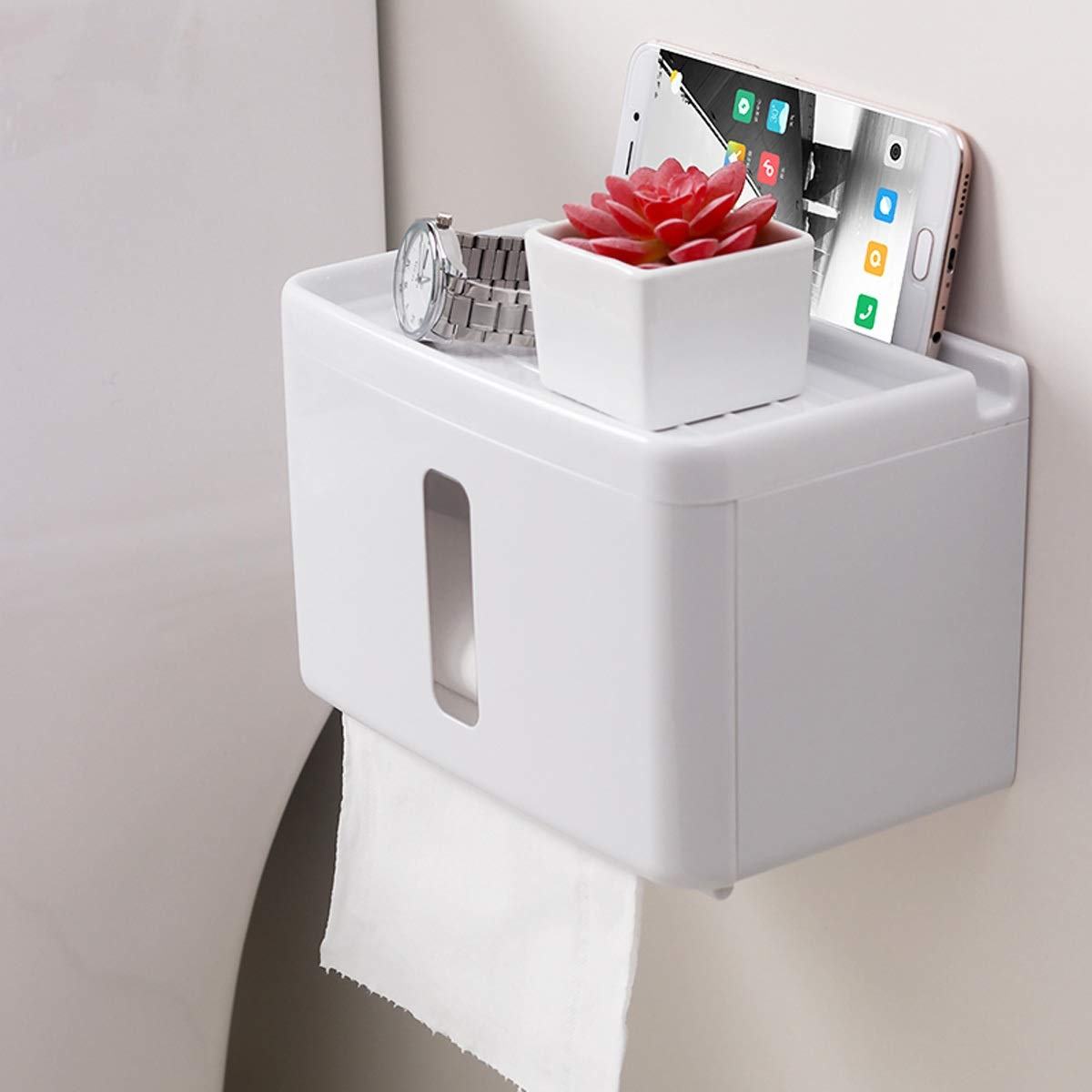 HAOMINGTIAN Tissue Box - Multi-Purpose Toilet Paper Holder Wall-Mounted Punch-Free Tissue Box with Storage Trash Bag Holder for Bathroom or Kitchen (Shape : Rectangle)