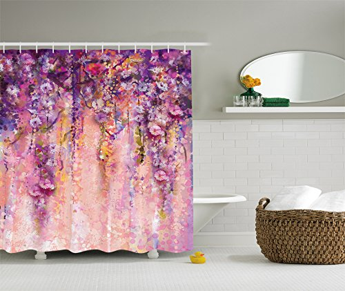 Purple Shower Curtain Spring Flowers Decor By Ambesonne, Wisteria Blossoms  Watercolor Painting Effect And Bubble, Fabric Bathroom Shower Curtain, ...