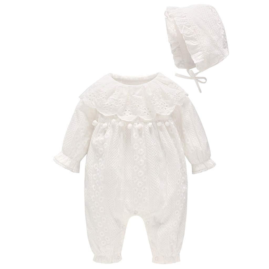 2er Pack Baby Mädchen Strampler mit Hut Spielanzug Baumwolle Langarm Jumpsuits Outfits 3-6 Monate ShenzhenWindyTradingCo. Ltd