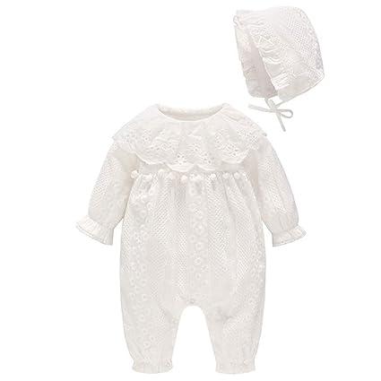 Pack de 2 Bebés Niñas Pelele con Sombrero Encaje Algodón Mameluco Monos Body Trajes 3-