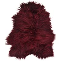 Lambland Long Wool Icelandic Sheepskins in Burgundy - Size Single