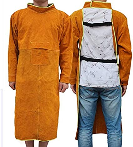 Wear-resistant Anti-scald Welding Cape for Most Men Leather Welding Jackets 85//105//120CM Length Long Welding Apron 85CM Flame Resistant Welder Clothes Coat with Sleeves