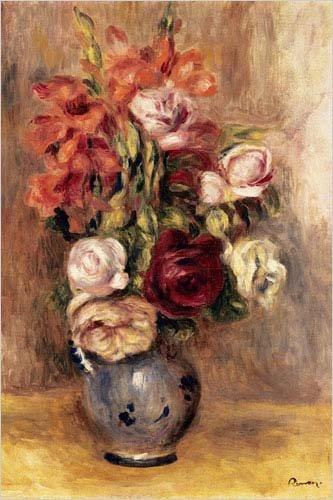 Pierre Renoir Auguste Roses - Vase of Gladiolas and Roses Poster by Pierre-Auguste Renoir 24 x 36in