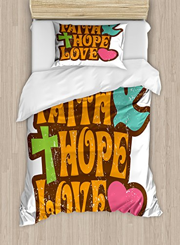 Ambesonne Hope Twin Size Duvet Cover Set, Grunge Faith Hope Love Quote with Religious Symbols Cartoon Style Vintage Letters, Decorative 2 Piece Bedding Set with 1 Pillow Sham, Multicolor by Ambesonne