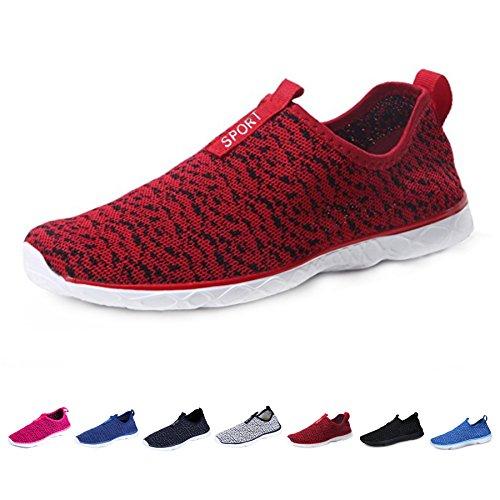 KEALUX Männer Frauen Leichte Wasser Schuhe Mit Entwässerung Löcher Auf Unten Walking Sneaker Quick-Dry Wasser Sport Barfuß Schuhe Für Wasser Aktivitäten rot