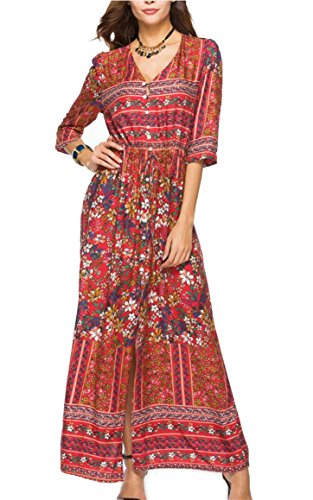 V Party 4 Floral Dress Women 3 Neck Jaycargogo Print 6 Maxi Split Sleeve Front Elegant xq4wWPT