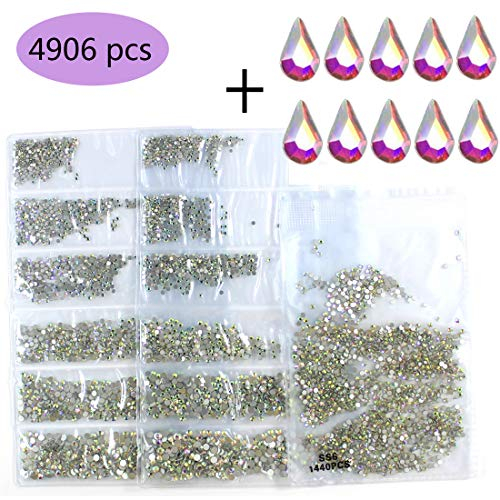 4906pcs Spangle Nail Art Rhinestones AB Nail Crystal Flat Back Circular Glass Studs Stones for 3D Nails Art Decorations Manicure Tools (1.3mm, 1.5mm, 1.8mm, 2.0mm, 2.4mm, 2.8mm) (Crystal AB)