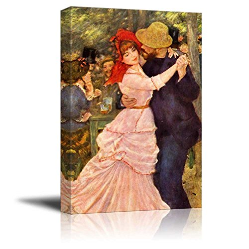 Dance at Bougival by Pierre Auguste Renoir Famous Fine Art Reproduction World Famous Painting Replica on ped Print Wood Framed