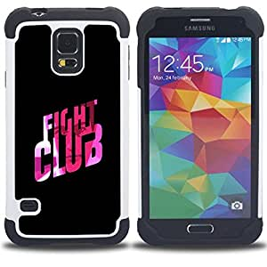- fight club quote slogan pink bling/ H??brido 3in1 Deluxe Impreso duro Soft Alto Impacto caja de la armadura Defender - SHIMIN CAO - For Samsung Galaxy S5 I9600 G9009 G9008V